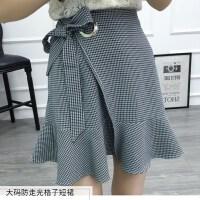 胖mm不规则格子鱼尾裙半身裙a型加大码秋高腰绑带包臀短裙荷叶边 图片色