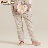 【2件2.5折 到手价:100】Pawinpaw宝英宝卡通小熊童装秋季款女童休闲长裤