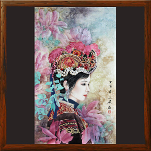 《少数民族美女图》胡记领-中国工艺美术学会会员 、山东美术家协会会员【H00ML1689】
