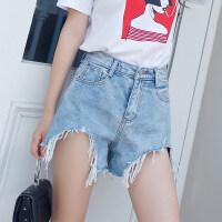 牛仔短裤女夏2018新款韩版chic宽松复古a字显瘦阔腿高腰毛边热裤 蓝色