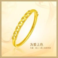 周大福 珠宝首饰优雅计价黄金手镯(工费:368计价)F158115