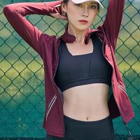 速干瑜伽服女运动上衣长袖罩衫专业跑步网纱拼接性感时尚健身服