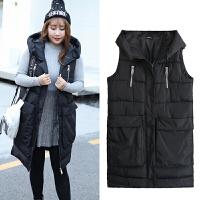 棉马甲女秋冬季加肥加大码300斤女装色中长款保暖加厚外套 黑色