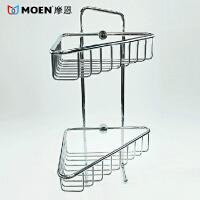 MOEN/摩恩 浴室置物架全铜镀铬摩恩双层置物架角篮90007