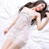 Esibibi 露乳情趣内衣蕾丝诱惑开叉性感吊带睡裙睡衣套装A361