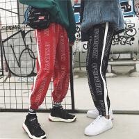 男士个性嘻哈男裤哈伦运动裤字母宽松束脚裤韩版卫裤学生长裤