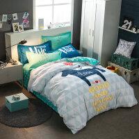纯棉卡通床上四件套儿童全棉三4件套1.5米单双人宿舍床单被套1.8m 粉红色 天马行空
