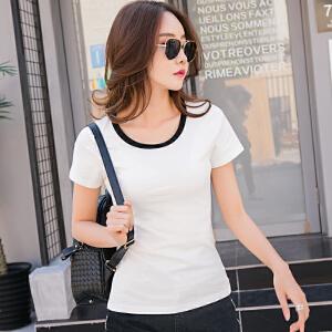 短袖t恤女夏装新款拼色圆领短袖韩版百搭简约棉质体恤衫女