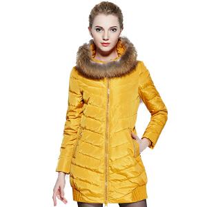 【一件三折 到手价:149.7】yaloo/雅鹿羽绒服女中长款 时尚保暖大貉子毛领修身连帽冬装外套