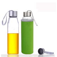 550ML耐热玻璃水瓶创意车载玻璃杯子矿泉水瓶带盖茶杯便携水杯杯子女透明水瓶学生运动男韩版创意潮流随手杯 绿色