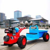 儿童电动手扶拖拉机玩具车可坐人大型四轮双人超大号仿真带斗童车儿童手扶拖拉机电动车可坐 红色车头+蓝色车斗 现货当天发