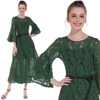 蕾丝连衣裙夏季新款欧美复古气质修身显瘦超长款大摆礼服长裙