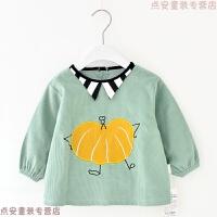 秋冬季儿童罩衣宝宝围裙小猫咪婴儿护衣男孩灯芯绒防水反穿衣