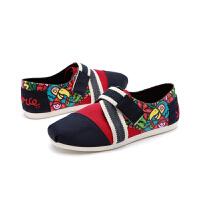 jm快乐玛丽帆布鞋秋季时尚个性欧美设计师涂鸦魔术贴女鞋子77138W
