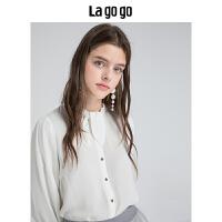 Lagogo/拉谷谷2019秋季新款宫廷风衬衫HCCC438Y15