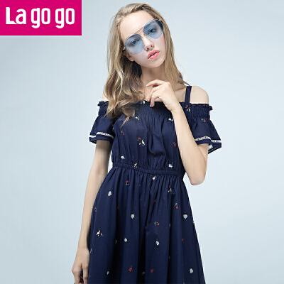 【商场同款】lagogo/拉谷谷2017夏新款直筒印花喇叭袖连衣裙GALL205F85