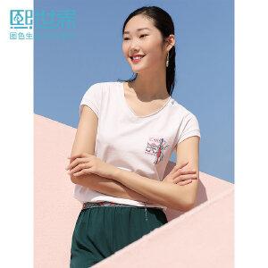 熙世界V领印花短袖T恤女2019年春夏装新款修身显瘦体恤