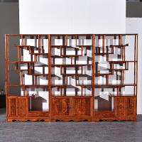 博古架实木中式多宝阁原木置物架茶叶架古董架展示陈列玄关隔断柜 左中右三组合 运费到付 1米以下