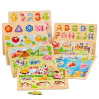 儿童婴宝宝拼图1-2-3岁数字母形状认知积木质手抓板玩具 BB0213 交通工具