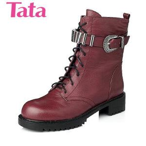 Tata/他她 年时尚荔纹牛皮革女靴2D369DZ5