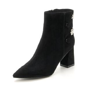 星期六(ST&SAT)冬季专柜同款羊皮革刺绣元素粗跟短靴SS74116359
