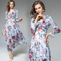 范冰冰杨幂明星同款秋装新款时尚长袖品质女装长裙优雅连衣裙
