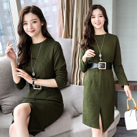 针织连衣裙女装长袖秋冬季新款修身显瘦港味加厚复古打底裙子