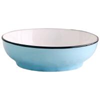家用简约餐盘陶瓷碗碟子餐具套装创意不规则圆盘蒸盘