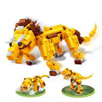 小颗粒积木玩具动物3合1恐龙虎三角龙 积木 动物3合1恐龙虎三角龙
