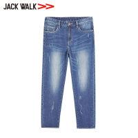 【3折价110.7元】JACKWALK秋季2018舒适修身牛仔裤男士简约长裤