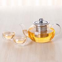 汉馨堂 玻璃花茶壶 不锈钢滤网泡茶壶耐热透明玻璃壶600ml