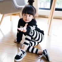 女童打底裤秋季新款条纹纯棉休闲韩版公主中小童百搭童装长裤