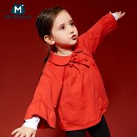 【每满200减100】迷你巴拉巴拉女童宝宝红色斗篷外套2018春装新款儿童洋气韩版外套