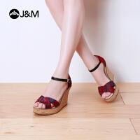 【低价秒杀】jm快乐玛丽 夏季时尚平底坡跟绑带个性休闲露指高帮女凉鞋88053W