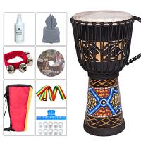 思雅晨非洲鼓系列手鼓桃花芯木手工整木掏空山羊皮丽江手鼓 8寸 9寸 10寸12寸成年人儿童非洲鼓