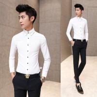 新款2018春装韩版修身男衬衫长袖富帅烫商务休闲纯色衬衣西装搭配