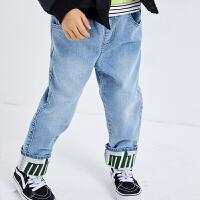 【3件6折:203.4】商场同款漫画家童装男童裤子2020春装新款儿童时尚卷边牛仔长裤潮