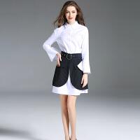 2018春季简约大喇叭袖长款白色衬衫女装围裹式条纹短裙两件套装裙