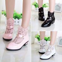 童鞋女童皮鞋春秋款蕾丝单鞋儿童鞋子公主鞋小女孩高跟鞋