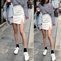 牛仔半身裙女春夏2018新款韩版不规则开叉高腰A字裙短裙包臀修身 白色