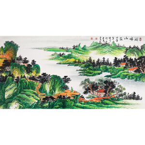 郭建亮《湖畔山庄》著名画家 有作者本人授权