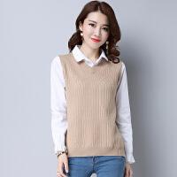 2018春季新款假两件毛衣女修身学生衬衫领韩版女士上衣打底衫T恤 XX