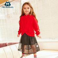 【2件3.8折】迷你巴拉巴拉儿童女套装2019春装新品宝宝连帽卫衣裙子两件套童装