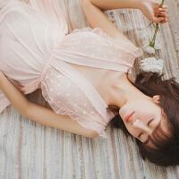 粉色波点公主性感睡衣吊带短裙情调衣人透明网纱诱惑睡裙 均码(建议80-110斤)