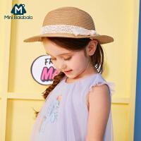 迷你巴拉巴拉女童草帽2018年夏装新款宝宝沙滩海边太阳帽草帽子