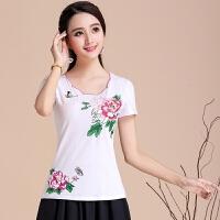 原创民族风女装短袖t恤女夏装新款 中国风刺绣上衣显瘦打底衫