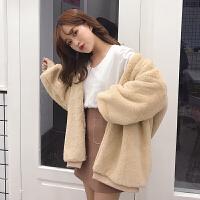 毛毛外套女韩版中长款夹棉保暖开衫ulzzang小香风学生秋冬季百搭