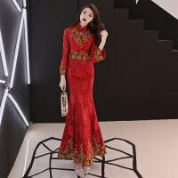 敬酒服长袖2018新款冬季长款红色新娘结婚修身鱼尾中式旗袍晚礼服 酒红色金丝鱼尾