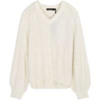 白色套头毛衣女冬季宽松V领上衣长袖毛衫百搭打底针织衫 白色