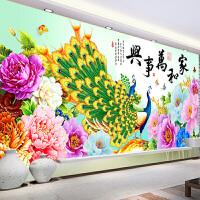 印花线绣十字绣2018新款客厅大幅家和万事兴简约现代刺绣牡丹孔雀